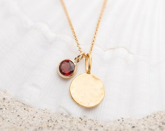 Hammered Gold disc necklace with Garnet Charm/Garnet Disc Necklace/Garnet necklace/Garnet Charm Necklace/January birthstone