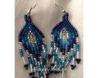 Blue and White Earrings. Boho Earrings. Beaded Earrings. Gift for Her.
