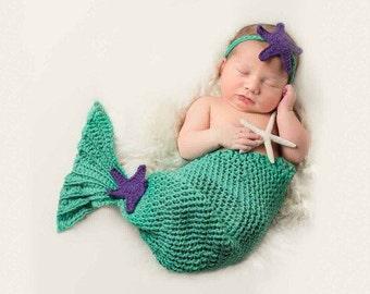 Crochet Baby Mermaid Tail Set