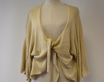 Handmade amazing cotton cardigan with sleeves-bells, S/M size. Only one sample.