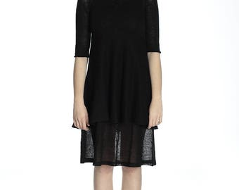 Transparent black linen tunic, S size.