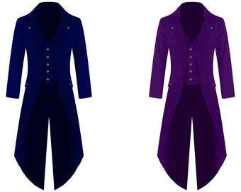 BLUE/PURPLE Mens Steampunk Tailcoat Jacket Gothic Victorian Coat