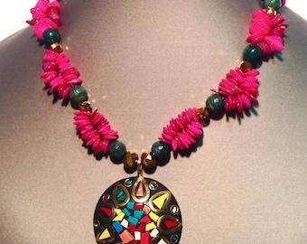 Necklace mandala pink