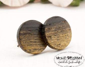 Ø11mm Wooden ear studs Extra Thin post studs round Organic Fake Faux Plug Gauge Earrings wood fake piercing illusion personalized