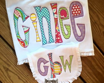 Appliqué name burp set