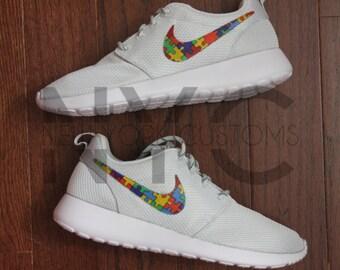 Autism Awareness Nike Roshe One Run Grey Autism Speaks V3 Custom Men Women & Grade School Youth
