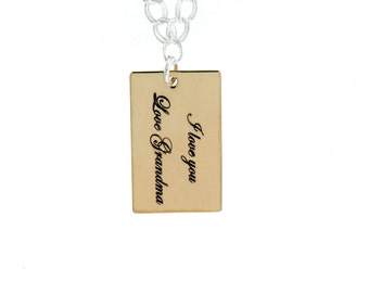 Personalized Brass Rectangular Necklace