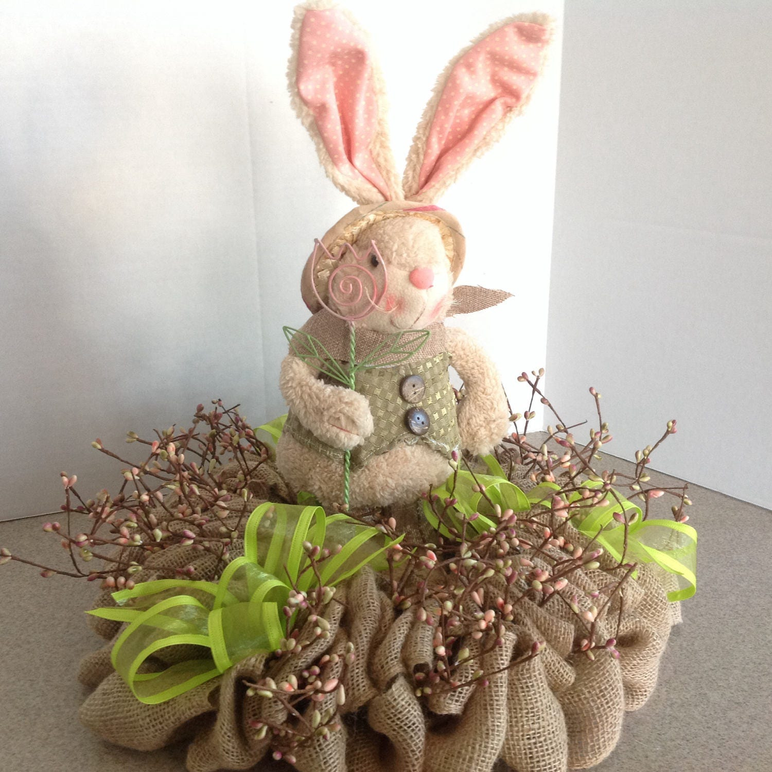 Burlap Easter centerpiece with pip berries and plush bunny Easter bunny Pink Green Spring tabletop arrangement Table Decor