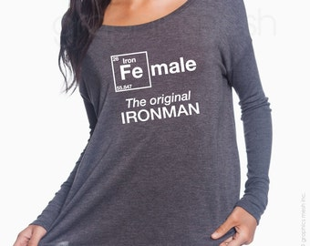 "Ladies Flowy Long-Sleeve Female ""The original IRONMAN""  For the iron-women triathlete - Ladies T-shirt"