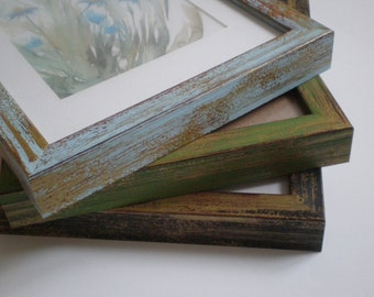 "Wall picture frame 11x14"" rustic frame distressed frame shabby chic Picture frame wall decor home decor Green 28x36cm Wood RusticFrameShop"