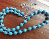 Turquoise necklace, blue necklace, turquoise and silver necklace, semi-precious necklace, turquoise jewellery, summer jewellery, boho