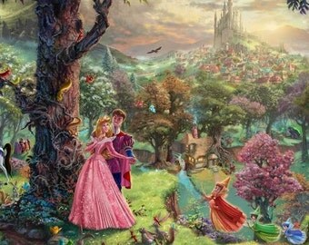 Disney's Sleeping Beauty Thomas Kinkade Art Print Mounted