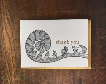 "BOX of 6 Fiddle Fern ""thank you"" Greeting Cards - Letterpress Printed in Portland Oregon"