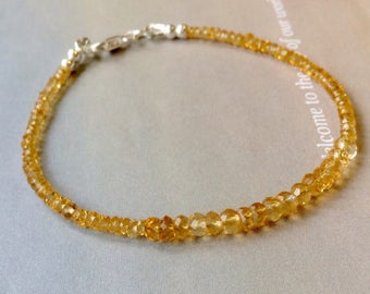 Golden Citrine Bracelet, Golden Gemstone Bracelet, Genuine Citrine, Stacking Bracelet, Sterling Silver, Gold Filled, November Birthstone