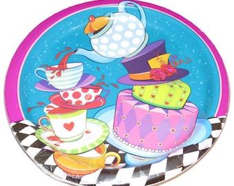 Alice in Onederland plates, Alice in Wonderland birthday decorations, babys first birthday party, mad hatter, tea party, childrens birthday