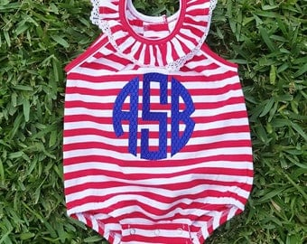 Monogrammed Baby Bubble - Red and White Bubble - 4th of July Bubble - Fourth of July Romper - Bubble Romper - Baby Girl Bubble