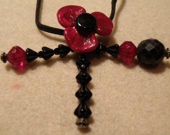 S23  Red and Black Poppy Choker