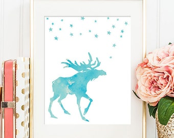 75% OFF SALE - Moose Under The Stars - 8x10 Printable Art, Hunting Decor, Rustic Decor, Moose Print, Wall Art, Moose Silhouette Print