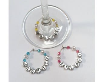 Wine Glass Charms Pearl Colourful Beads Personalized Name Tag Small Gift Party Favours Barware