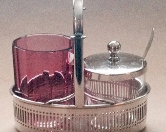 Vintage Cranberry Glass and Silver Plate Condiment Set