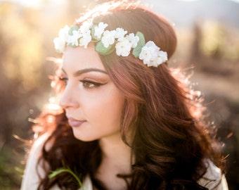 pink white mini flower crown mixed flower headband