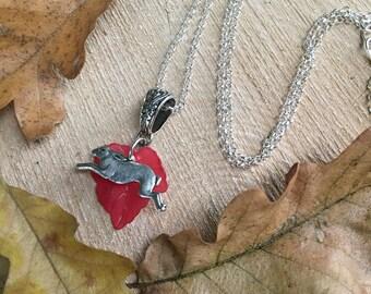 Autumn Leaf Hare Pendant