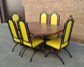 Mod Wrought Iron Dining Set Yellow Vinyl 6 Chairs