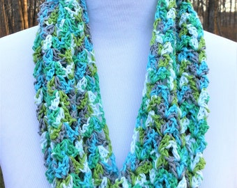 crochet cotton summer cowl, lacy open weave lightweight infinity neck wrap,  aqua greens gray white circle wrap, gift for her