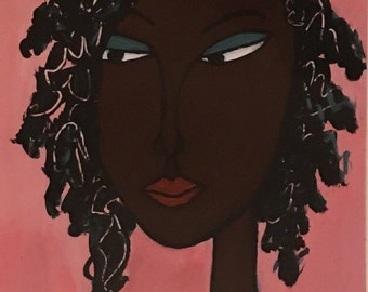 African Art Print: Black Queen, Nubian princess. Acrylic Painting.