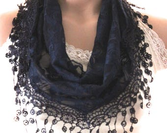 Navy blue lace triangle scarf - shawl - women scarf - gift - scarves -women's accessories - lace scarves - navy scarves - navy blue headband