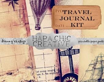 Vintage Travel Journal Junk Journal Digital Kit Scrapbook Printables Digital Smashbook Smash Book Journaling Cards printable journal