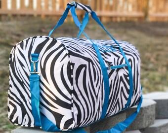 Zebra DUFFLE Bag, Dance Duffle Bag, Personalized Dance Bag, Girls Duffl Bag, Girls Carry On Bag, Girls Gym Bag, Monogrammed Dance Bag, Gifts