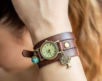 Woman Bracelet Watch, Wrap Watch, bronze wrist watch, tree of live, blue, genuine leather, bead watch, real leather, vintage antique watch