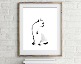 Cat print, minimalist print, cat painting, modern painting, black and white, cat art, cat wall art, modern home decor, cat lover