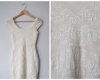 Vintage lace cutout bandage dress   S