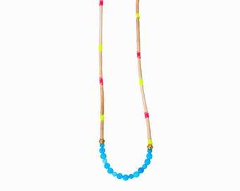 Long Colorful Cotton Necklace, Jade Bead Necklace, Neon Necklace, Long Cord Necklace, Festival Necklace, Gemstone Necklace, Summer Necklace