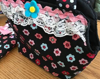 Black multicolor flower childs purse