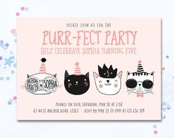 Cat Invitation, Cat invite, Cute cat party invite, cat birthday invitation, cat party invitation, cats, cute cats, kids party invitation