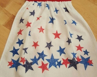 Red, White and Blue Stars Hanging Kitchen Towel (Red)