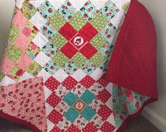 Granny square quilt, baby quilt, stroller blanket, crib quilt, girl quilt, handmade quilt, Little red riding hood quilt