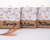 3 PERSONALIZED  name burlap clutch/ with teal flowers / lace clutch/hand sewn  name  wristlet strap / wedding bag /gift idea