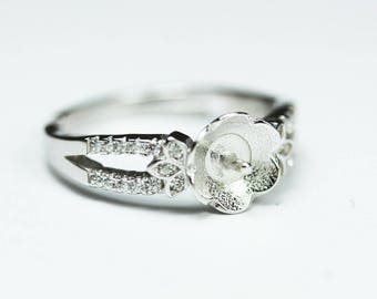 1pc adjustable 925 Sterling Silver w/Cubic Zirconia Jewellery findings Ring Setting,for half drilled Beads  - FDSSO0115