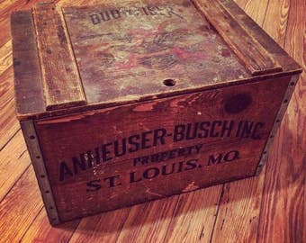 Anheuser-Busch Budweiser Beer Wood Beer Crate Box Vintage Anheuser Busch Beer Collectible Vintage Crates Budweiser Beer Crate Vintage Beer