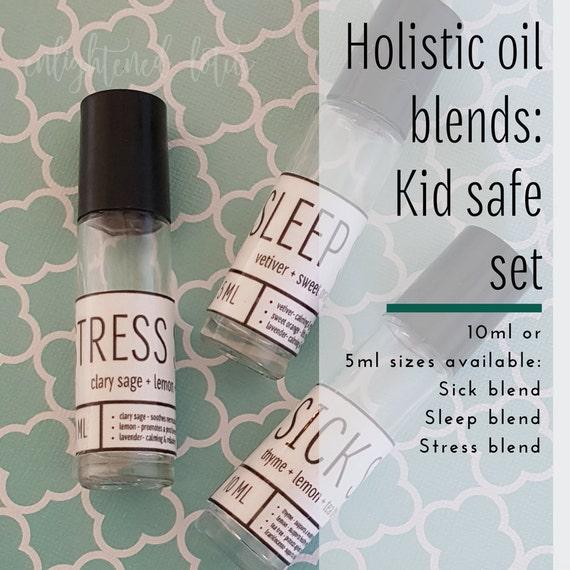 Holistic Oil Blends, Kid-safe Set Includes 3- 10 ml. Kid Safe Blends: Sick Stick, Stress Stick, Sleep Stick