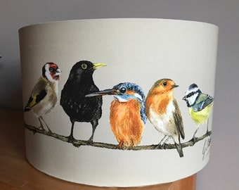 Row Of Garden Birds Lampshade By Artist Grace Scott - 40CM Large Lampshade
