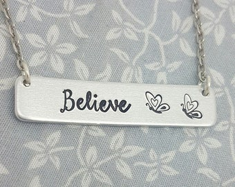 Believe Necklace - Butterfly Necklace - Bar Necklace - Cute Gift - Gift For Her - Butterfly Addict - Keepsake - Inspirational