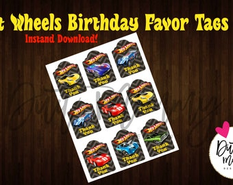 DIGITAL | Favor Tags | Hot Wheels | Birthday Party | Customizable | Gift Favor Tag | DIY | INSTANT Download