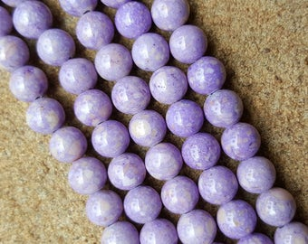 "6mm Round Fossil Beads, Dyed Lilac - 16"" Strand"