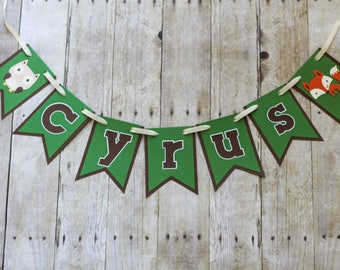 Baby Name Banner • Woodland Friends Banner • Bassinet Banner • Personalized Banner • Nursery Decor • Owl & Fox Banner • Woodland Creatures
