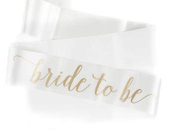 Bride to Be Sash - Bride Sash - Hen Party Sash - Bridal Shower Sash - Ivory Sash - Hen do Sash - Bride to be Gift